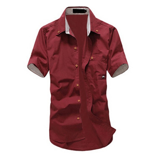 IMC 2016 Hot Selling Fashion mens shirt summer short-sleeve slim shirt casual Small Mushroom Embroidery men's shirt-geekbuyig