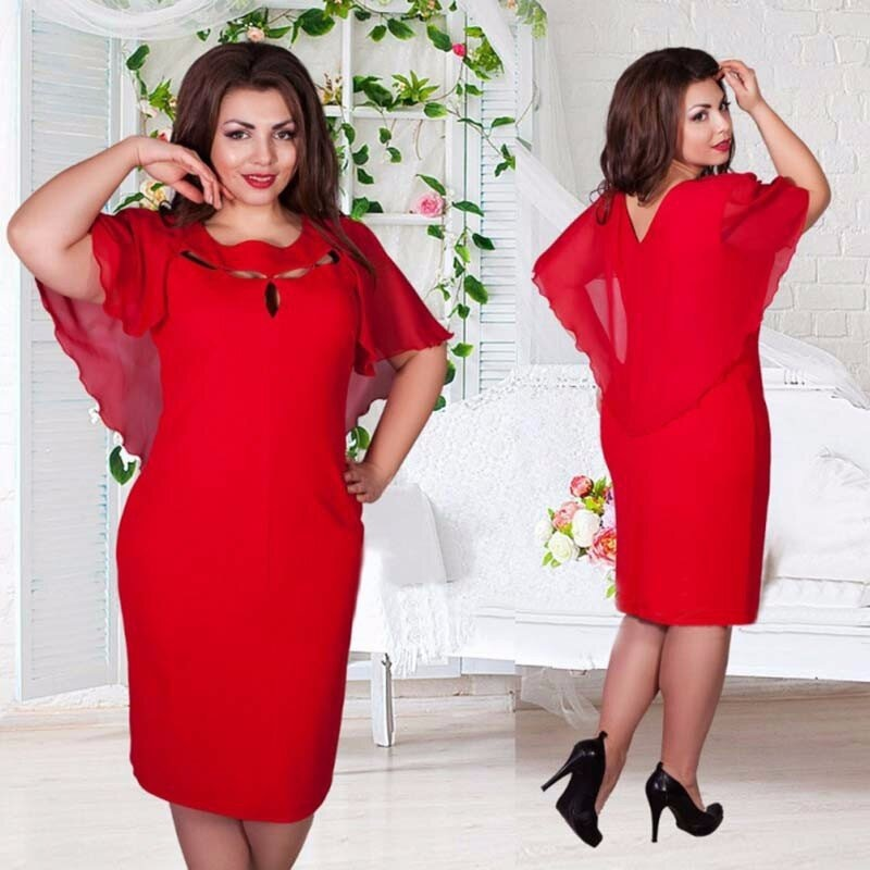 New Autumn Vintage Women Hollow Out Cape Red Black Blue Party Dress Short Sleeve Clubwear Beach Dresses Large Size Vestidos-geekbuyig