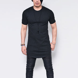 Plus Size S-5XL 2017 Summer Fashion Casual Pure Color Slim Fitness Elastic Men O-Neck Short Sleeve Tshirt Male Hip Hop Tops-geekbuyig