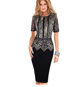 Womens Elegant Dress Special Occasion Vestidos Patchwork Lace Casual Party Sheath Fitted Bodycon Dress 386-geekbuyig