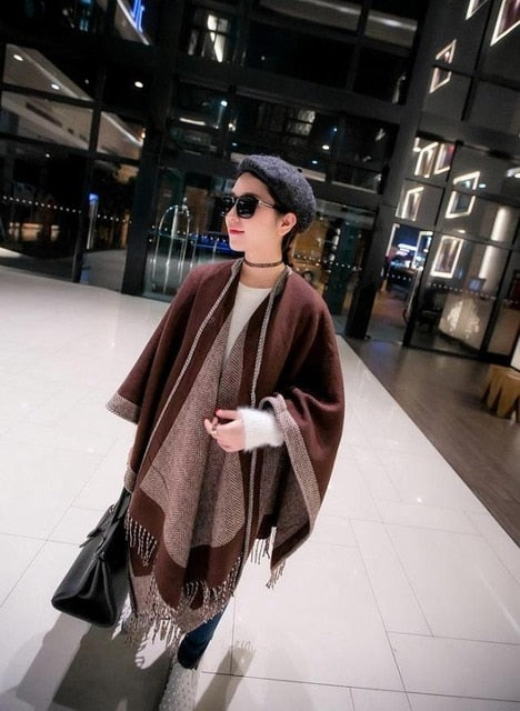 New Brand blanket scarf stoles Women Cashmere designer luxury Poncho Duplex Winter Cape Shawls and Scarves bandana 180x130CM-geekbuyig