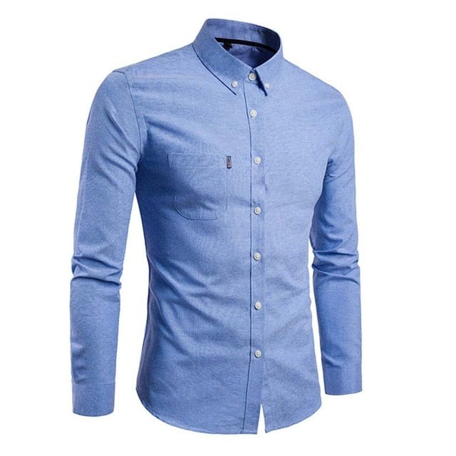 Fashion Men Long Sleeve Shirt Solid Business Casual Slim Fit Turn Down Collar Shirts Tops Plus Size 5XL H9-geekbuyig