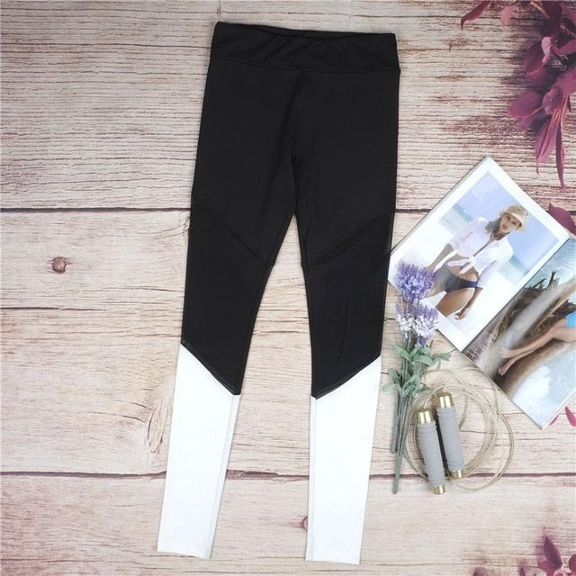 Black White Mesh Leggings Fitness Women Activewear Leggings Gyming Breathable Bodybuilding Pants female Legging Dropshipping-geekbuyig