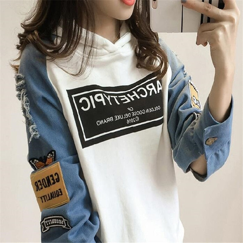 2017 Fashion Womens Loose Casual Sweatershirt Hole Long Sleeve Hoodie Sweatshirt Cowboy Stitching Pullover Tops Shirt Coat-geekbuyig