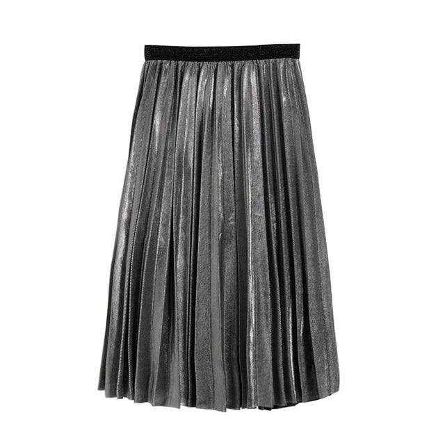 Women Metallic Silver Skirt Midi Skirt High Waist Metallic Pleated Skirt Party Clubwear for Ladies-geekbuyig