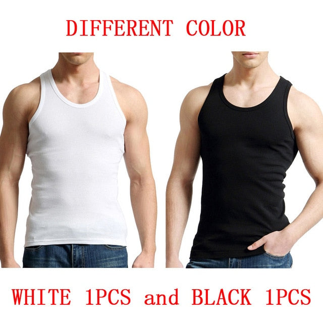 Fashion Men Tank Top 2-pack Solid Vest Cotton Male Sleeveless Tops Slim Casual Undershirt Tank Top Men 2 PCS/Lot-geekbuyig