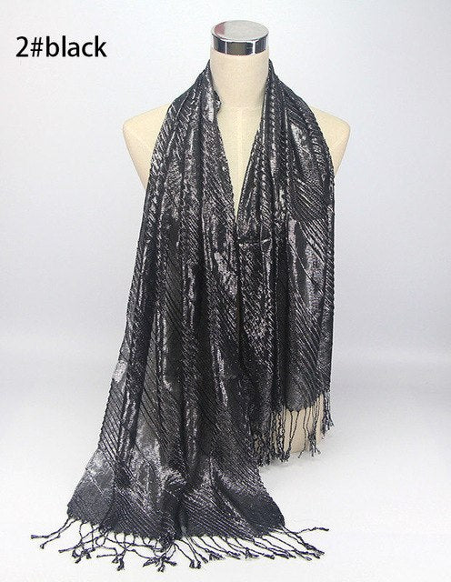 1 pc New Design Wrinkled Scarf islamic muslim hijabs tassel shawls shiny Shimmer glitter Scarves wrap for women-geekbuyig