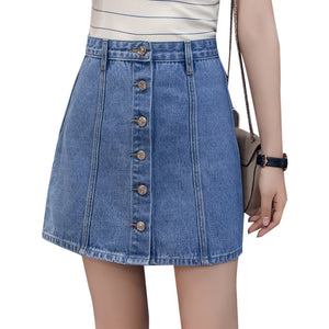 New Spring Summer Women Skirt High Waist Promote Students Cowboy Short Skirts Light Dark Blue 8128-geekbuyig
