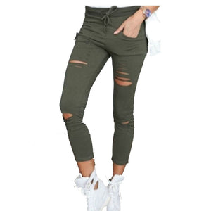 Women leggings Holes Pencil Stretch Casual Denim Skinny Ripped Pants High Waist Jeans Trousers-geekbuyig