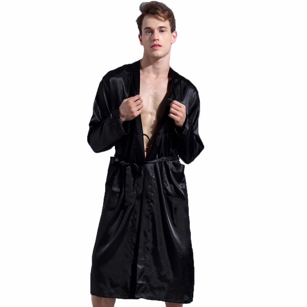 1844Brand Long Robe Emulation Silk Soft Home Bathrobe Plus Size S-XXL Nightgown For Men Kimono Robes Autunm Spring Winter Summer-geekbuyig