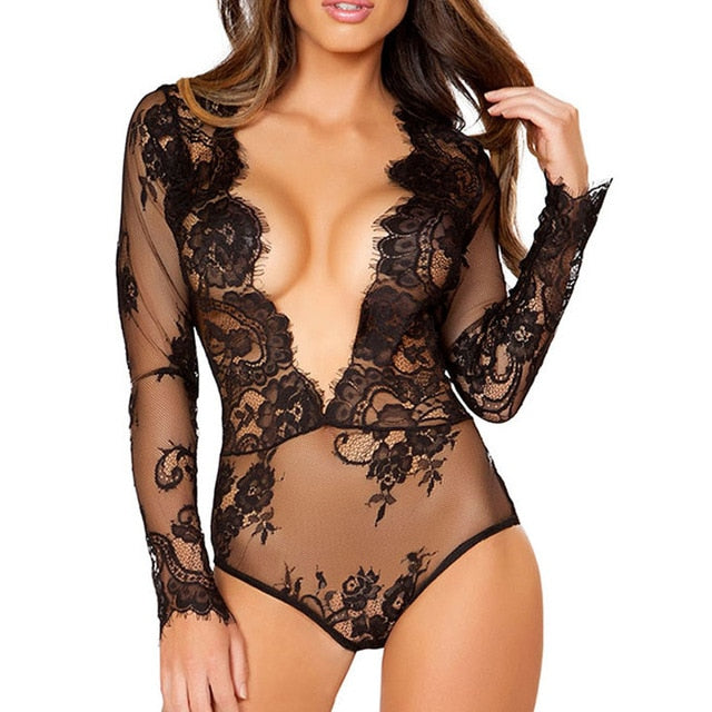 RS80509 Bodysuit Transparent Deep V Neck Bodysuite Sexy 3XL Long Sleeve Lace Bodysuit 2017 Autumn Feamle Teddy Jumpsuits Romper-geekbuyig