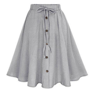 Summer Women Skirt Vintage Stripe Print Lace-up Button High Waist Skirts Gown Pleated Cotton Midi Knee-length Skirts-geekbuyig