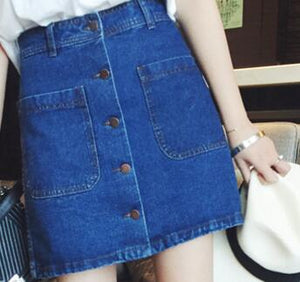 New summer Womens ladies A-line Pencil Jeans Skirt Front Button High Waist Denim small pockets Skirt black white harajuku-geekbuyig