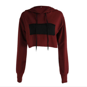 2017 Autumn Women Casual Loose Hoodies Long Sleeve Crop Top O Neck Sexy Sweatshirt Wine Red and Black Patchwork Pullovers-geekbuyig