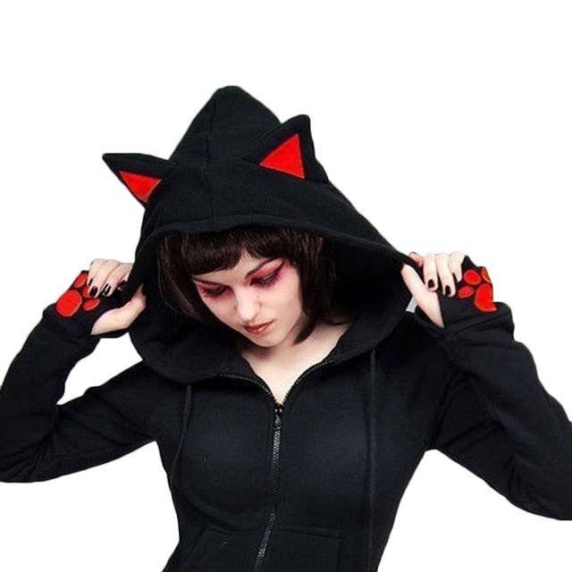 2017 Female Women Casual Hoodies Long Sleeve Hoody Cat Ears Printed Hoodies-geekbuyig