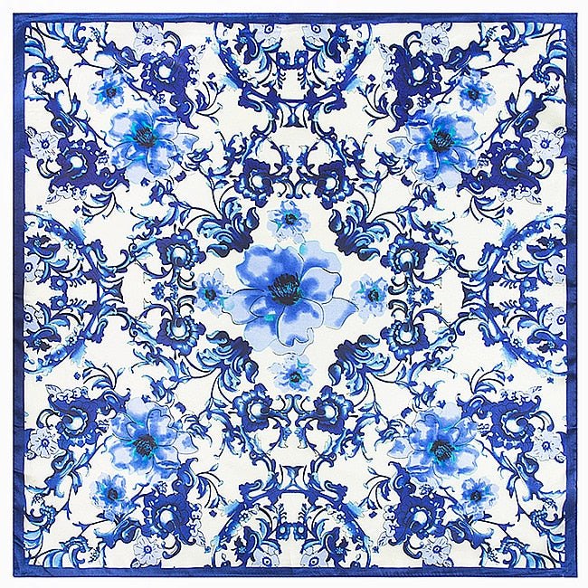60cm * 60cm new Chinese style retro blue and white porcelain lady silk scarf small simulation-geekbuyig