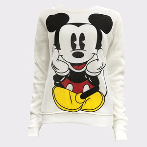 Womens Character Mouse Printed Sweatshirt Hoodies Casual Pullover Cute Jumpers Top Long Sleeve O-Neck Fleece Swatershirts-geekbuyig
