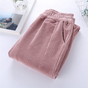 Autumn Women Corduroy Pants Pantalon Mujer Elastic Waist Harem Pants Plus Size 3XL Casual Sweatpants Trousers Loose Pants C3575-geekbuyig