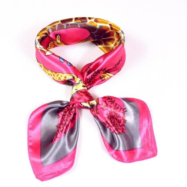Autumn Winter Red Leopard Print Polyester Scarves For Ladies New Style Brand Small Square Scarf All-Match Silk Scarf Coffee Pink-geekbuyig