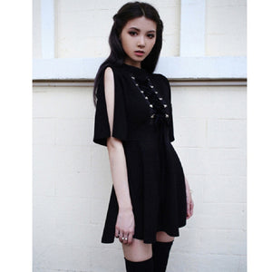 Ribbon Decorated Gothic Women Black Dress Japanese Harajuku Punk Cross Straps Tie Slim A Line Dress-geekbuyig