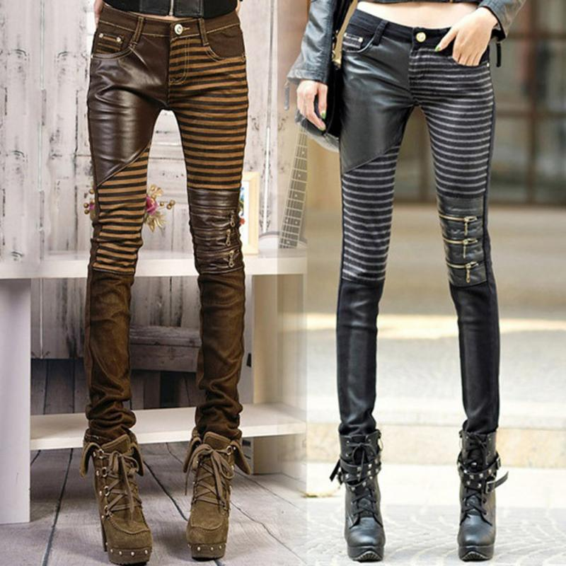 Casual Pants Woman Denim Trouser Fashion Elastic Pencil Pants PU Leather Patchwork Jeans-geekbuyig