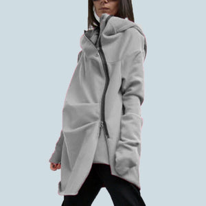 S-5XL ZANZEA Oversize Women Fashion Loose Casual Asymmetrical hem Zipper Hooded Sweatshirt Coat Outwear Jacket Hoodie Sweats-geekbuyig