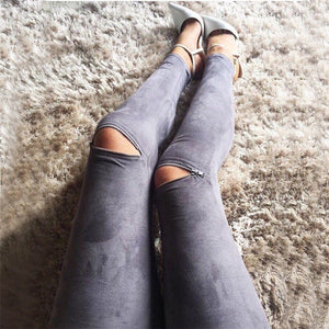 Summer New Women Leather Skinny Pants Sexy Zipped Leggings Stretch Slim Trousers-geekbuyig