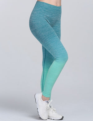 New Women's High Waist Ombre Color Push Up Leggings Soft Breathable Elastic Fitness Pants Bodybuilding Workout Trousers-geekbuyig