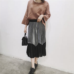 TWOTWINSTYLE Metallic Sensation Pleated Skirt Vintage High Waist Midi Tutu Skirts Womens Summer Style Femme Casual Clothing-geekbuyig