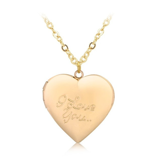 """I love you"" Heart Locket Pendant Necklace Women Men Lovers Vintage Brass Photo Frame Box Choker Neckalces Fashion Love Jewelry-geekbuyig"
