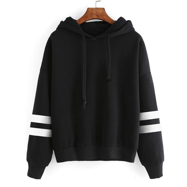 Fashion Womens Striped Long Sleeve Solid Hooded Hoodie Sweatshirt Jumper Hooded Warm Pullover Tops-geekbuyig