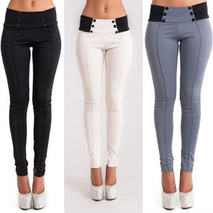 New Fashion Women Casual Denim Skinny Pants High Waist Stretch Pencil Trousers-geekbuyig