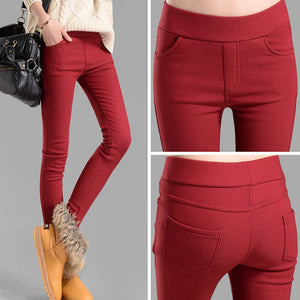 women pants capris pencil pants fleece warm casual pants trousers elastic Winter velvet thick leggings dropshipping-geekbuyig