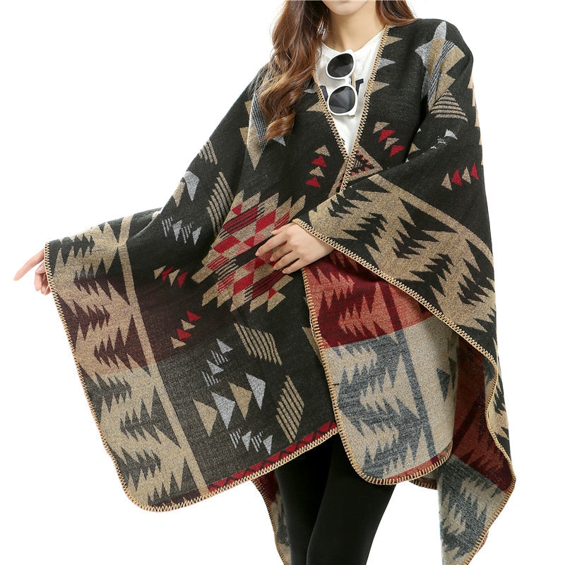 Women Winter Pashmina Scarf Imitated Cashmere Ponchos Thicken Capes Plaid Scarves Long Women scarves Fashionable Shawl-geekbuyig