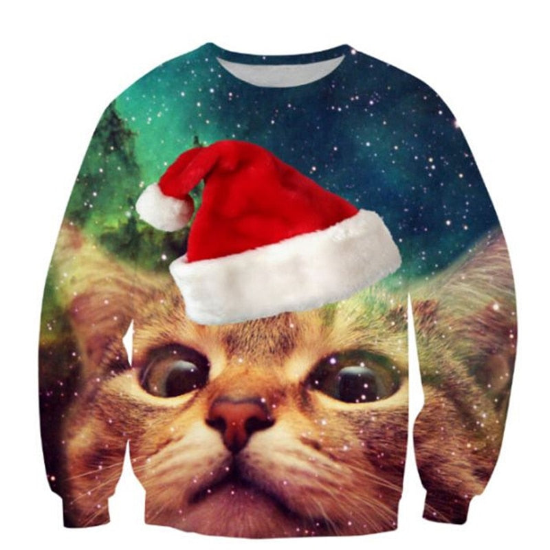 New Space galaxy Christmas Cap cat Sweats print 3d hoodies Women Men sweatshirts unisex Jumper pullovers Fashion Clothing Tops-geekbuyig