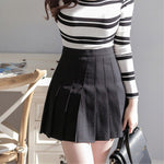 High Waist Essential Women's Pleated Skater Prevent Exposed Short Skirts Black White Mini Slim School Uniform Saias Femininas-geekbuyig