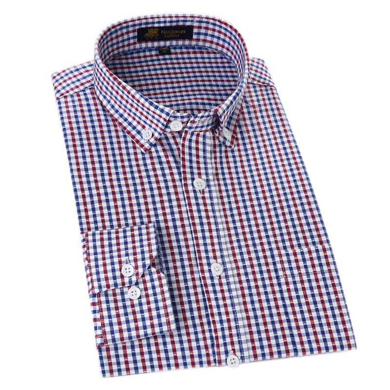 Men's Oxford Casual Shirts Non-Iron Plaid Social Shirts Long Sleeve Men Dress Shirt Classic Style for Men-geekbuyig