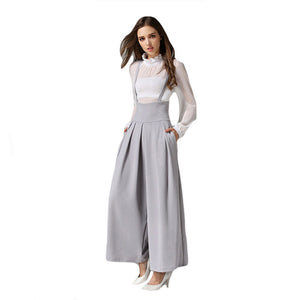 Clobee Women Wide Leg Pants With Strap 2017 Summer Ankle-Length Loose Pants Female High Waist Ladies Pant Boho Pantalones Mujer-geekbuyig