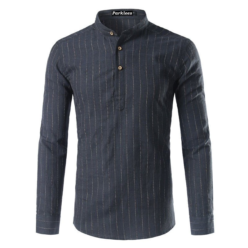 New Striped Linen Henley Shirt Men 2017 Spring Autumn Fashion Mens Slim Fit Long Sleeve Stand Collar Shirts Chemise Homme 3XL-geekbuyig