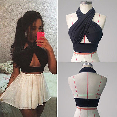 Womens Strapy Cross Over Front Cut Out Halter Neck Crop Top Vest Black-S-XL-geekbuyig
