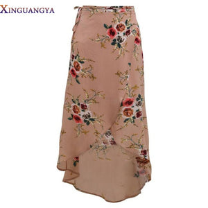 Women White Irregular Long Skirt 2017 Summer Boho Vintage Floral Print Side Slit Wrap Maxi Skirt Girl Waist Skirts female-geekbuyig