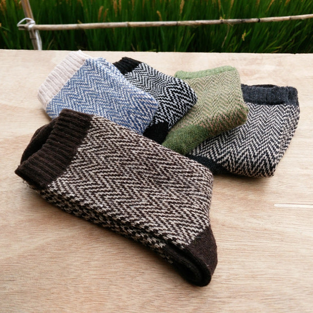 PEONFLY Autumn Winter Pattern Man Wool Comfortable Wind Soft happy funny mens Socks men cotton 5PAIRS/LOT-geekbuyig