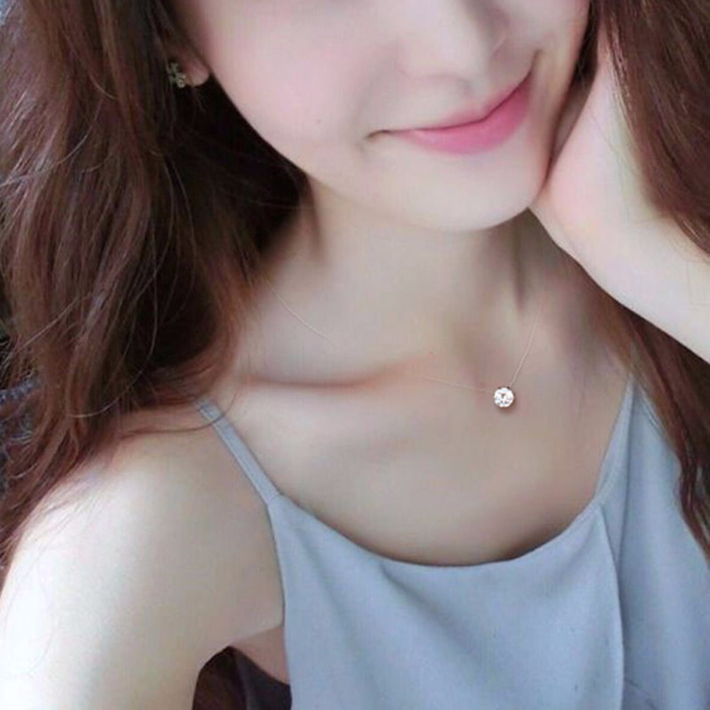 Creative Transparent Fish Line Crystal Rhinestone Zircon Choker Necklace Women Jewelry Accessories Gift #248327-geekbuyig