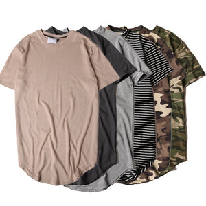 HZIJUE2017 Men's T-shirt summer Solid Color Curved Hem Long Line Camouflage Hip Hop Tshirt Elong Plain Kanye Tee Shirts Men Top-geekbuyig