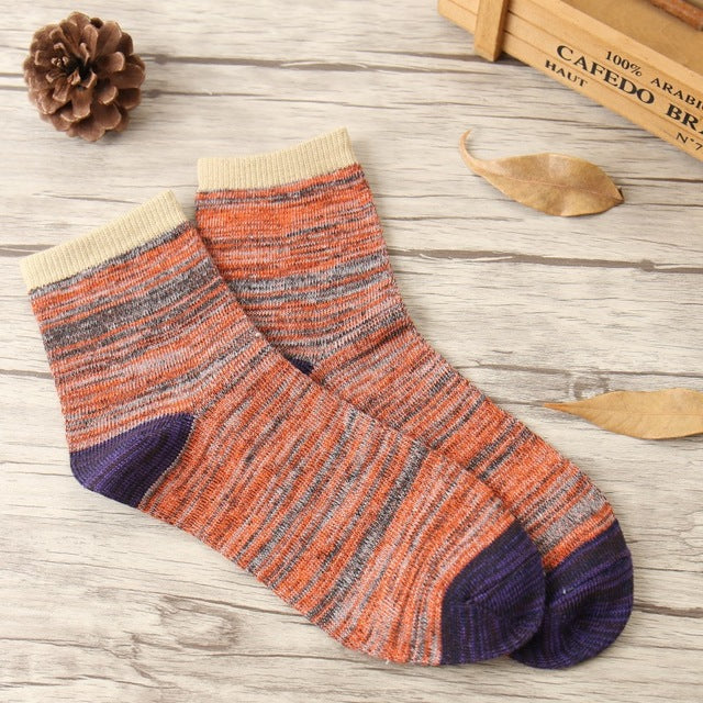 Autunm new Hot man in tube cotton socks Retro national wind fashion thick lines women sock-geekbuyig