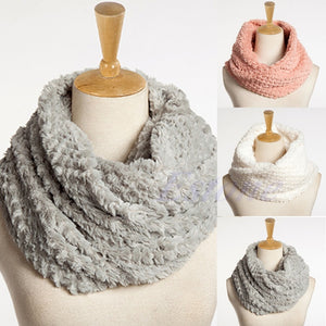 Nice Women Faux Fur Infinity Circle Cable Cowl Neck Winter Warm Long Scarf Shawl-geekbuyig