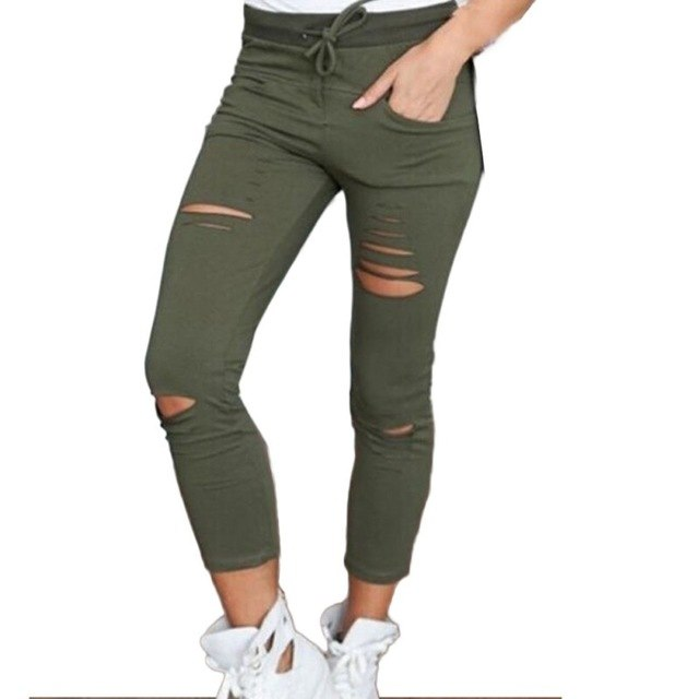 Female Trousers Women Hole leggings Ripped Pants Slim Stretch Drawstring Trousers Pants Army Green Pant-geekbuyig