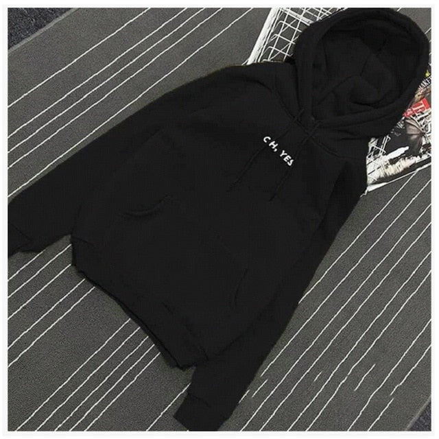 """OH YES"" Letter Hoodies Women Fleece Thick Fall Winter Long Sleeve Sweatshirt Women Pullover harajuku sudadera mujer sweat femme-geekbuyig"