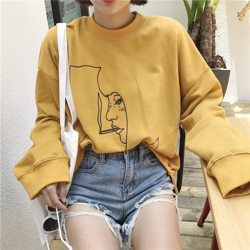 Smoking girl yellow sweatshirt harajuku ullzang tumblr Autumn women 2017 Korean fashion abstract girl-geekbuyig