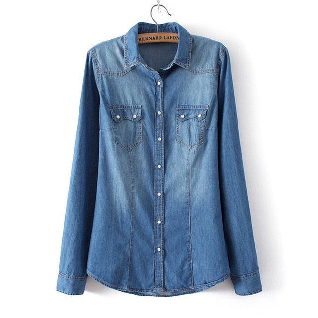 Winter Clothes Denim Shirt Women Clothing Vintage Jeans Shirt Womens Jeans Blusas Long Sleeve Casual Blouse Cowboy Shirt Spring-geekbuyig